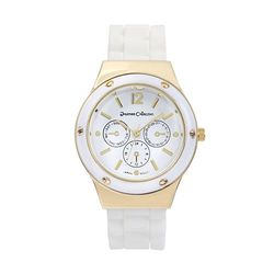 Journee Round Face Quartz Silicone Band Watch - White/Gold