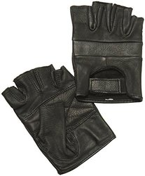 Napa Deerskin Special Fingerless Gloves (Black, X-Small)