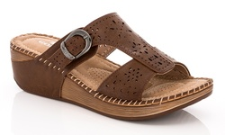 Lady Godiva Women's Comfort Wedge Sandals - Brown - Size: 7.5