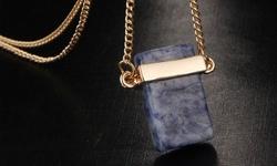 25 CTW Genuine Gemstone Slab Pendant- 28 +2 extender - Lapis lazuli