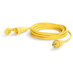 Woodhead 24W04B162 Watertite Wet Location Locking Blade Cordset, 2 Wires, 2 Poles, NEMA L1-15 Configuration, 16-Gauge SOOW Cord, Yellow, 15A Current, 125V Voltage, 50ft Cord Length