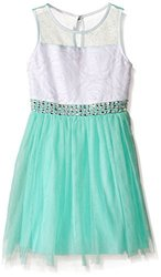 My Michelle Big Girls Mesh Party Dress - Light Mint - Size: 16