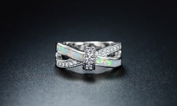 Women's 18K White Gold Fire Opal Cross Ring - Size: 6