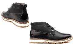 Vincent Cavallo Men's Two-Tone Chukka Boots - Black - Size: 9.5