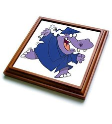 "3dRose trv_104354_1 Silly Graduate Graduation Hippo Cartoon Trivet with Ceramic Tile, 8 by 8"", Brown"