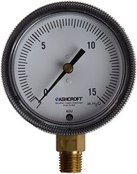 """Ashcroft Type 1490 Glass Filled Polysulfone Low Pressure Diaphragm Gauge, Beryllium Copper, Brass, Polysulfone and RTV Silicone Wetted Material, Brass Socket and Movement, 2-1/2"""" Dial Size, 1/4"""" NPT Lower Connection, 30/0"""" Hg Vac Pressure Range"""