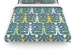 KESS InHouse ''My Leaves on Blue'' Woven Comforter Duvet Cover - Size: K