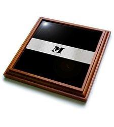 """3dRose trv_62605_1 Black N Silver Monogram Letter M Trivet with Ceramic Tile, 8 by 8"""", Brown"""
