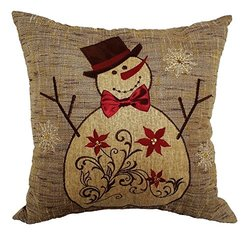 Xia Home Fashions Snowman Embroidered Collection Christmas Decorative Pillow Polyester Filled, 14 by 14-Inch