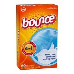 Bounce Fresh Linen Fabric Softener Dryer Sheet, 80 count per pack -- 9 per case.