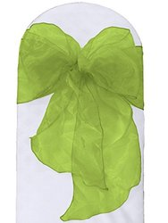 LA Linen Organza Sashes Chair Bows (Pack of 50), Lime