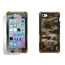 Beyond Cell Tri-Shield Hybrid Hard Shell and Silicone Case with Built-In Kickstand for iPhone 5C Lite - Retail Packaging - Dark Brown