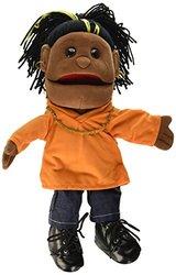 "14"" Girl Glove Puppet w/ Orange Shirt Black"