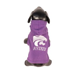 NCAA Kansas State Wildcats Collegiate Cotton Lycra Hooded Dog Shirt, Team Color, Large Purple/White