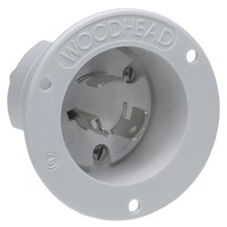Woodhead 2608MB Safeway Single Male Inlet, Industrial Duty, Locking Blade, 3 Poles, 3 Wires, Flanged, White, 20A Current, 125/250V Voltage