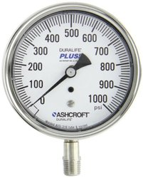 "Ashcroft Duralife Type 1009SW Stainless Steel Case Pressure Gauge with Stainless Steel System, Stainless Steel Bourdon Tube and Socket, PLUS! Performance Dampening System, 3-1/2"" Dial Size, 1/4"" NPT Lower Connection, 0-1000psi Range"