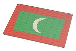 Rikki Knight Maldives Flag on Distressed Wood Large Glass Cutting Board