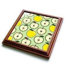 """3dRose trv_185462_1 Green and Golden Half Apple Print Trivet with Ceramic Tile, 8 x 8"""", Brown"""