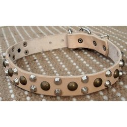 "Dean and Tyler Size 28"" by 1 1/5"" ""Bumps & Bits"" Dog Collar - Tan"