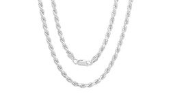 "Men's 22"" Italian Heavyweight Solid Sterling Silver Rope Chain"
