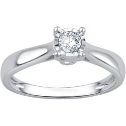 0.25 CTTW Round Diamond 14K White Gold Engagement Ring - Rhodium - Size: 8