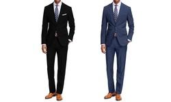 Braveman Men's 2pc Classic Fit Suit - Black/Blue- Size: 36Rx30W (2-Pack)