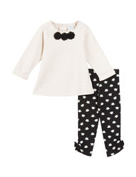 Baby Gear Baby Girl's Rosette Leggings Set - Ivory/ Black - Size:24 Months