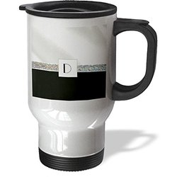 3dRose tm_194665_1 Print of Letter D on Jewels and White Satin N Black Travel Mug, 14-Ounce, Stainless Steel