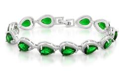 Women's 18K White Gold Swarovski Element Pear Shaped Bracelet - Green