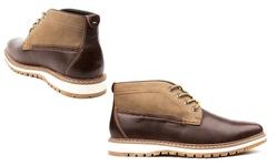 Vincent Cavallo Men's Two-Tone Chukka Boots - Dark Brown- Size: 10.5