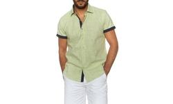 Suslo Couture Men's Button Down Short-Sleeve Shirt - Jason White - Size: L