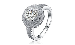 RelavenO Women's CZ Sterling Silver Rhodium Plated Ring