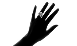 Women's High Polish Blooming Rose Ring in Stainless Steel - Size: 6