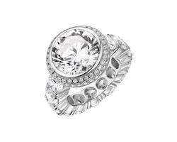 Barzel Women's 18K White Gold Plated 4Ct. Cz Halo Ring - Size: 6