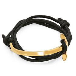 Steeltime Men's Adjustable Wrap Bracelet - Black - 18k Gold Plated Anchor