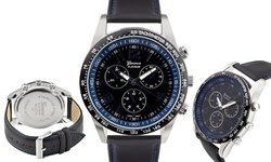 Geneva Men's Platinum Amarok Watch - Black Band/ Blue Dial (62627911)