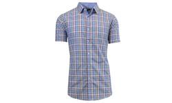 Harvic Men's Slim-Fit Plaid Button-Down Shirt - Pattern 12 - Multi - Sz: L