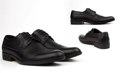 Royal Men's Long Wing-Tip Dress Shoes - Black - Size: 12