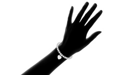 """8"""" Italian Solid Sterling Silver Bead Bracelet with Heart Charm"""