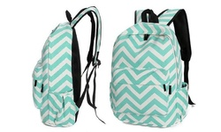 Girls Chevron-Pattern Backpack with Back-to-School Essentials - Green
