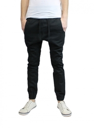 Harvic Men's Slim Fit Flat Front Twill Jogger Pants - Black - Size: Large