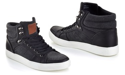 Franco Vanucci Men's Lace-Up High Top Sneakers - Black - Size: 12