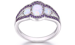 Sevil Women's 18K White Gold Plated Opal & Amethyst CZ Ring - Size: 7