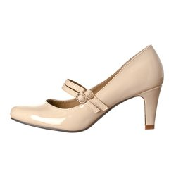 Women's Mila Chunky Mid Heel Mary Jane Pumps - Nude Patent - Size: 8.5