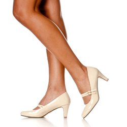 Women's Mila Chunky Mid Heel Mary Jane Pumps - Nude Patent - Size: 8