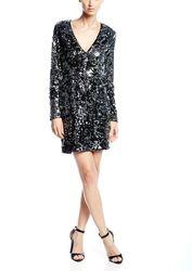 Rachel Zoe Women's Muse V Neck Fitted Dress - Silver/Black - Size: 6