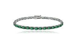 Women's Gemstone 8.75 Carat Emerald May Birthstone Oval Tennis Bracelet