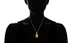 2.5 CTW Genuine Diamond & Citrine Pendant 18'' Necklace - Sterling Silver