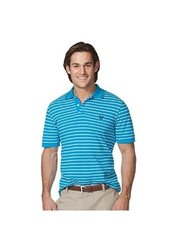 Mens CHAPS Polo Shirt 100% Cotton Stripe - Blue/Green - Size: Large