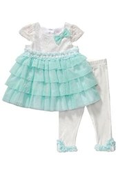 Youngland Baby Girls' Top/Legging Set - White/Turquoise - Size: 24 Months